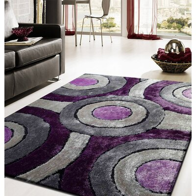 Queanbeyan Shaggy Hand-Tufted Purple/Gray Area Rug