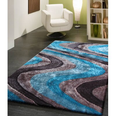 Osteen Shaggy Hand-Tufted Gray/Blue Area Rug Rug Size: Rectangle 76 x 103
