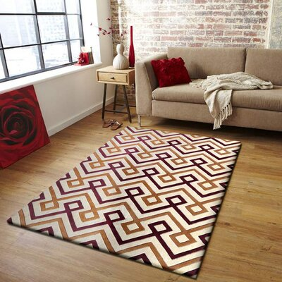 Cedillo Hand-Tufted Brown/Beige Indoor Area Rug Size: Rectangle 76 x 103