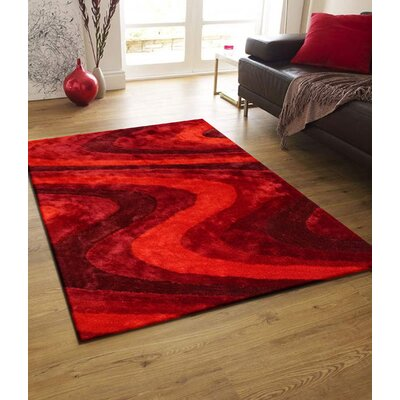Osteen Shaggy Hand-Tufted Red Area Rug Rug Size: Rectangle 76 x 103