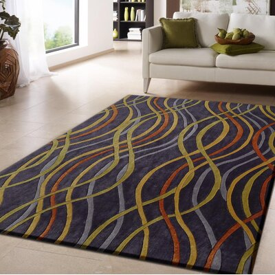 Duong Hand-Tufted Blue/Yellow Indoor Area Rug Size: Rectangle 76 x 103