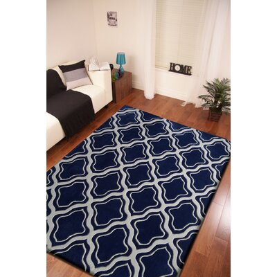 Lamphear Hand-Tufted Gray/Blue Indoor Area Rug Size: Rectangle 76 x 103