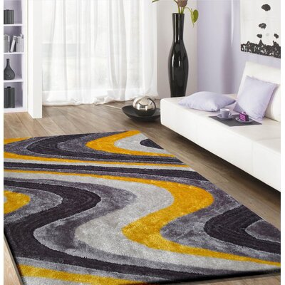 Osteen Shaggy Hand-Tufted Gray/Yellow Area Rug Rug Size: Rectangle 4 x 54