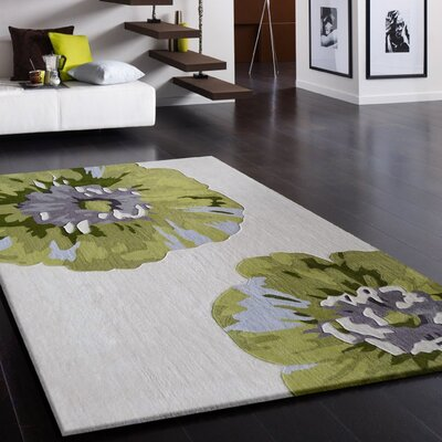 Whicker Hand-Tufted Green Indoor Area Rug Size: Rectangle 5 x 7