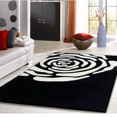 Whipple Transitional Hand-Tufted Black/White Area Rug
