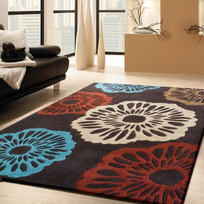Stabler Transitional Hand-Tufted Brown/Red/Blue Area Rug