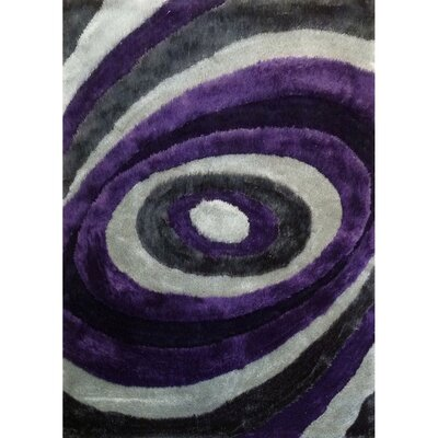 Living Shag Purple/Gray Rug Rug Size: 5 x 7