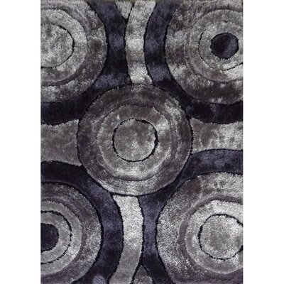 Living Shag Black/Gray Rug Rug Size: 5' x 7'