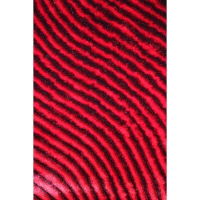 Shaggy 3D Red Area Rug Rug Size: 5 x 7
