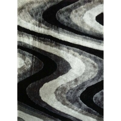 Living Shag Black/Gray Rug Rug Size: 5 x 7