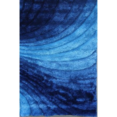 Shaggy 3D Blue Area Rug Rug Size: 5 x 7