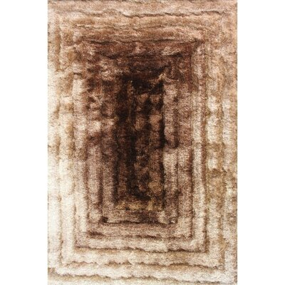 Shaggy 3D Gold/Brown Area Rug Rug Size: 7'6