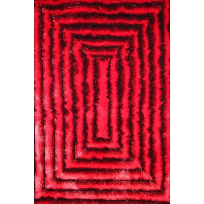 Shaggy 3D Red/Black Area Rug Rug Size: 76 x 102