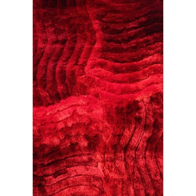 Shaggy 3D Red Area Rug Rug Size: 76 x 102