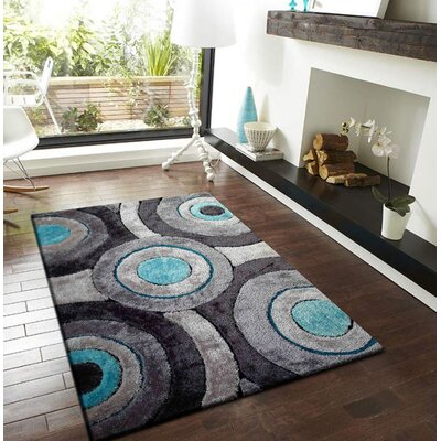 Orrstown Shaggy Hand-Tufted Gray/Blue Area Rug Rug Size: Rectangle 5 x 7