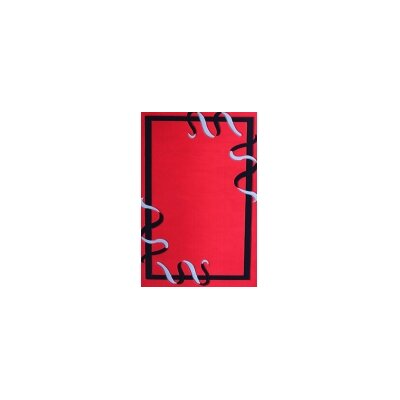 Geo Red Area Rug Rug Size: 79 x 106