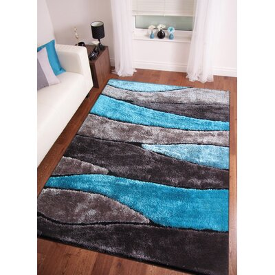 Quintanar Hand-Tufted Gray/Blue Area Rug