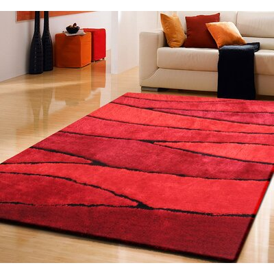 Owens Shaggy Hand-Tufted Red Area Rug Rug Size: Rectangle 76 x 103