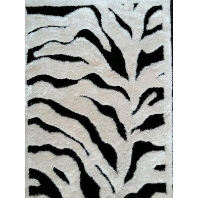 Shaggy Viscose Design Zebra Area Rug Rug Size: 5 x 7
