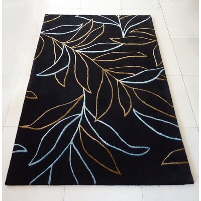 Transition Black/Yellow/Blue Area Rug Rug Size: 76 x 102
