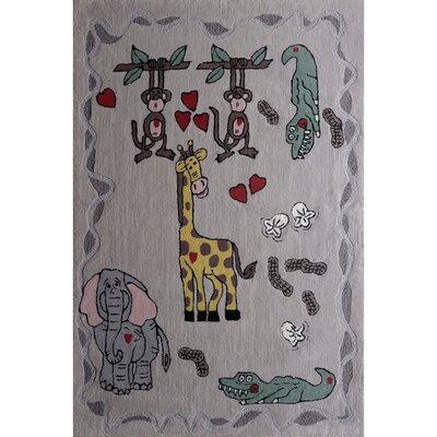 Zoomania Happy Life Grey Children's Area Rug