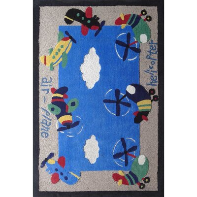 Zoomania Air Plane Blue Childrens Area Rug