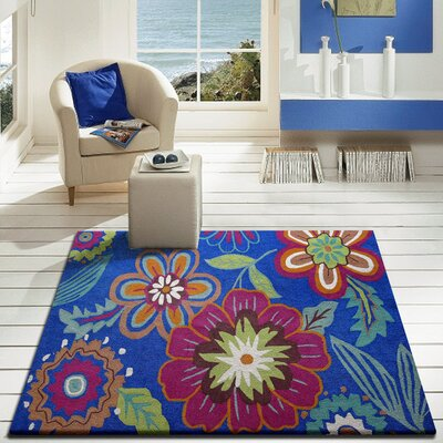 Vivid Blue Floral Indoor/Outdoor Area Rug Rug Size: Rectangle 5 x 7