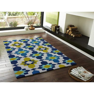 Vivid Blue/Yellow Indoor/Outdoor Area Rug Rug Size: Rectangle 66 x 92