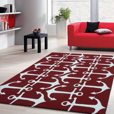 Vivid Red Anchors Indoor/Outdoor Area Rug Rug Size: 66 x 92