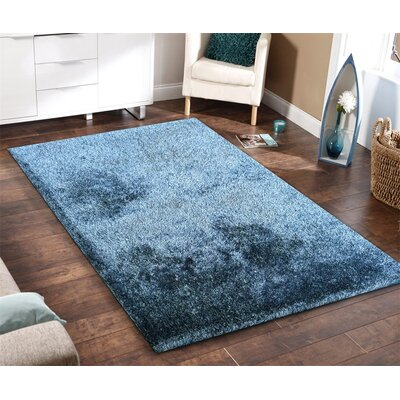 Heineman Solid Touch of Shag Hand-Tufted Blue Area Rug Rug Size: Rectangle 76 x 103