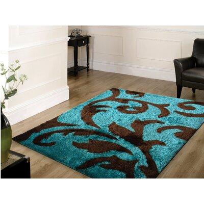 Lo-La Hand-Tufted Brown/Turqoise Indoor/Outdoor Area Rug Rug Size: 5 x 7
