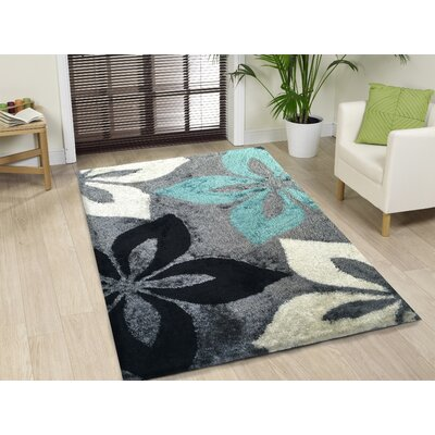 Lo-La Hand-Tufted Gray/Turqoise Indoor/Outdoor Area Rug Rug Size: 8 x 11