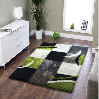 Lo-La Hand-Tufted Black/Green Indoor/Outdoor Area Rug Rug Size: 5 x 7