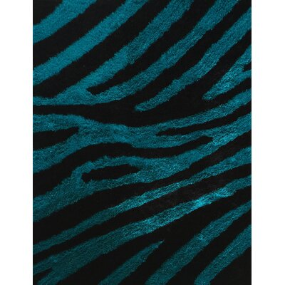 Lo-La Hand-Tufted Black/Turqoise Indoor/Outdoor Area Rug Rug Size: 5 x 7