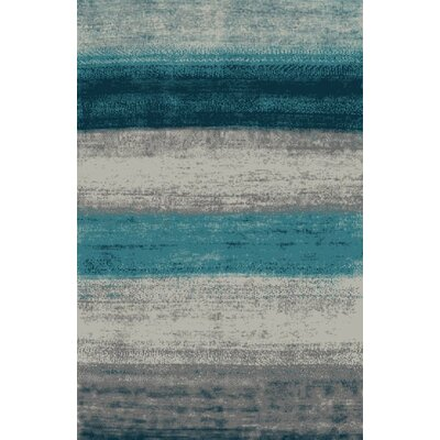Fusion Turquoise/Silver Area Rug Rug Size: 5 x 8