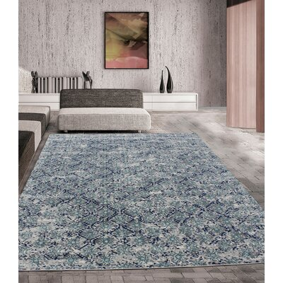 Fusion Turquoise/Silver Indoor/Outdoor Area Rug Rug Size: 8 x 11