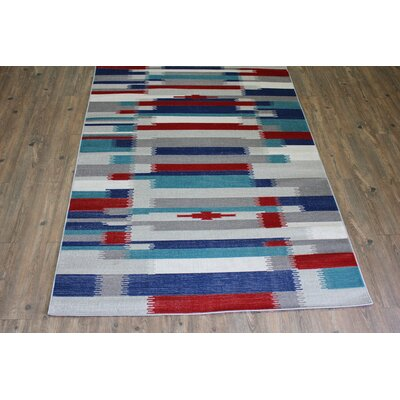 Kilim Blue / Red Area Rug Rug Size: 53 x 75