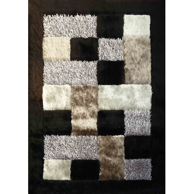 Shaggy Viscose Design Black Area Rug Rug Size: 76 x 102