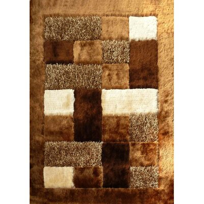 Shaggy Viscose Design Brown Area Rug Rug Size: 5' x 7'