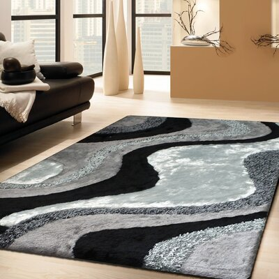 Schwerin Shag Hand-Tufted Gray/Black Indoor Area Rug