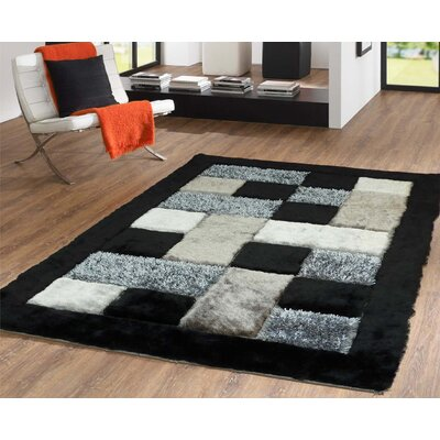 Scrivner Shag Hand-Tufted Black/Gray Indoor Area Rug