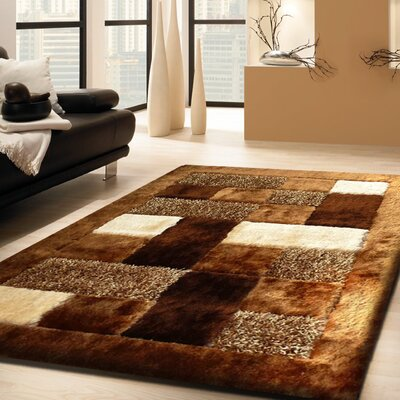 Arlosh Hand-Tufted Brown Area Rug