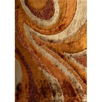 Shaggy Viscose Design Brown Area Rug Rug Size: 5 x 7