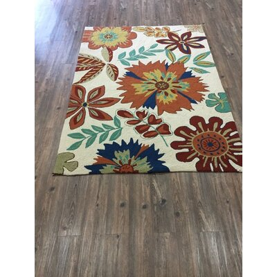 Vivid Beige Floral Indoor/Outdoor Area Rug Rug Size: Rectangle 66 x 92