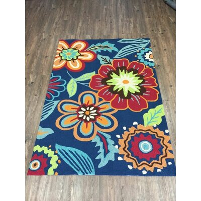 Vivid Blue Floral Indoor/Outdoor Area Rug Rug Size: 66 x 92