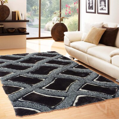 Yarbrough Hand-Tufted Gray/Black Area Rug Rug Size: Rectangle 76 x 103