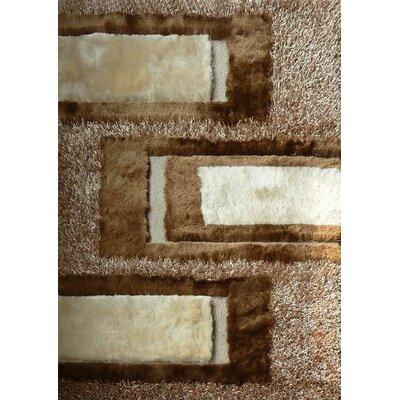 Shaggy Viscose Design Beige Area Rug Rug Size: 76 x 102