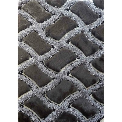 Shaggy Viscose Design Black Area Rug Rug Size: 5 x 7