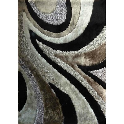 Shaggy Viscose Design Gray/Black Area Rug Rug Size: 76 x 102