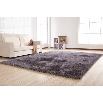 Heineman Solid Shag Hand-Tufted Gray Area Rug Rug Size: Rectangle 76 x 103